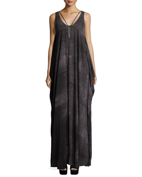Halston Heritage Sleeveless Scoop-Neck Flowy Gown, Black Print