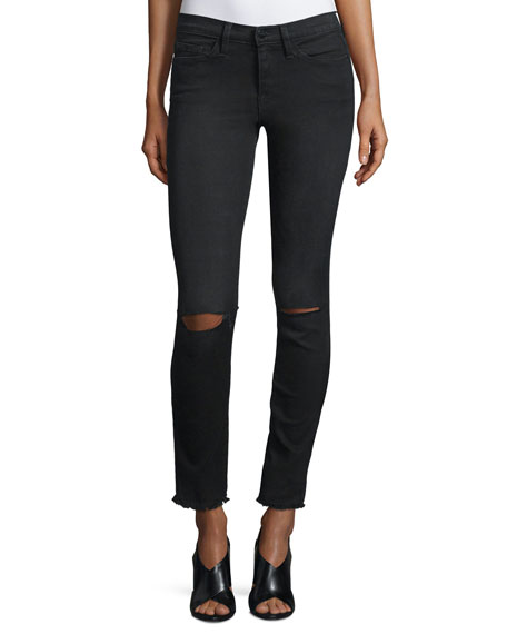 FRAME DENIM Le Skinny De Jeanne Distressed Jeans,
