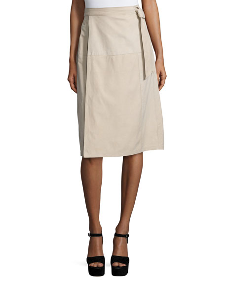 FRAME Wrap Belted Suede Skirt, Nude