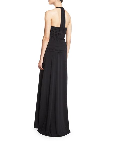 Halter-Neck Twist-Front Gown, Black
