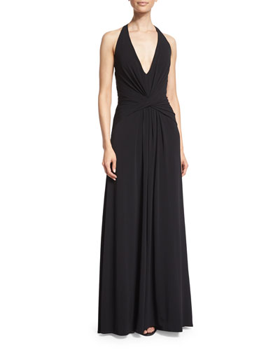 Halston Heritage Halter-Neck Twist-Front Gown, Black