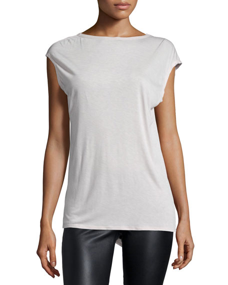 Halston Heritage Cap-Sleeve Draped-Back Top, Dark Bone