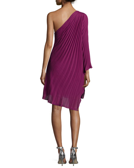 One-Shoulder Plisse Dress, Plum