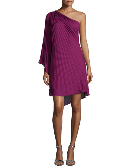 One-Shoulder Plisse Dress, Plum