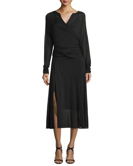 Donna Karan Long-Sleeve Crossover Midi Dress, Black