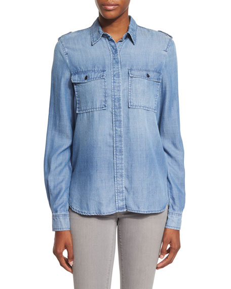 FRAME Military Button-Front Shirt, Lake