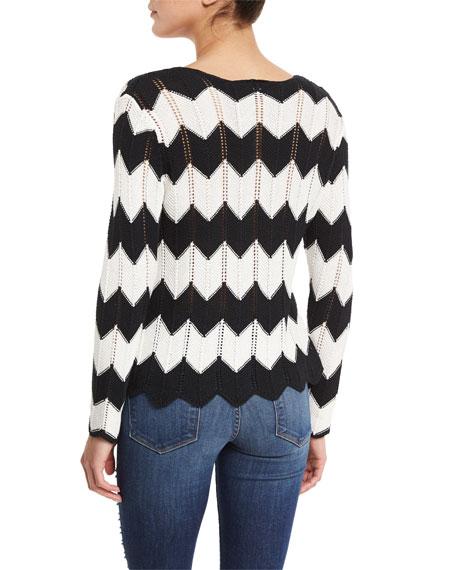 Crochet Zig Zag Sweater, Black/White