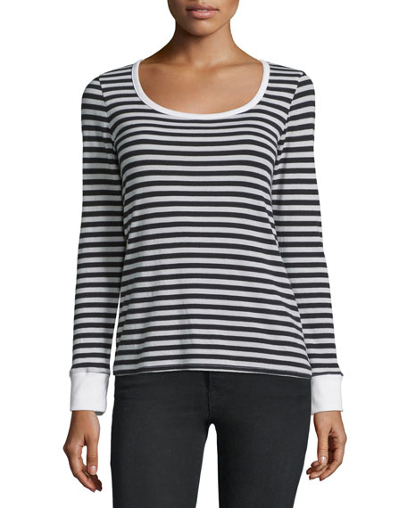 FRAME DENIM Le Boat-Neck Long-Sleeve Striped Top, Noir