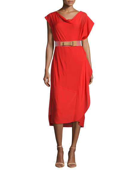 Donna Karan Sleeveless Draped Dress W/Belt, Flame Red