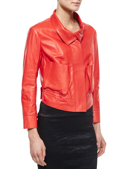 Donna Karan Lamb Leather Bracelet-Sleeve Jacket, Flame Red