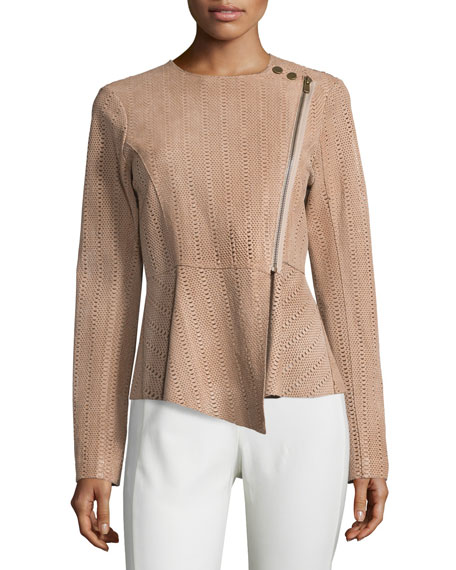 Veronica Beard Manuela Embossed Leather Jacket, Nude