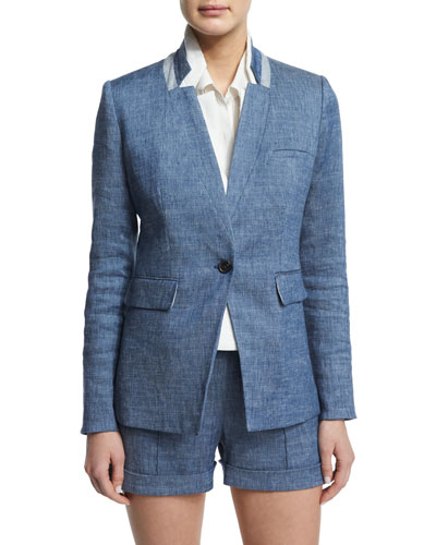 Orchid Chambray Upcollar Jacket, Blue