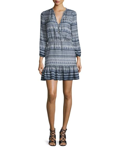 Agathe Silk Multipattern Dress, Blue