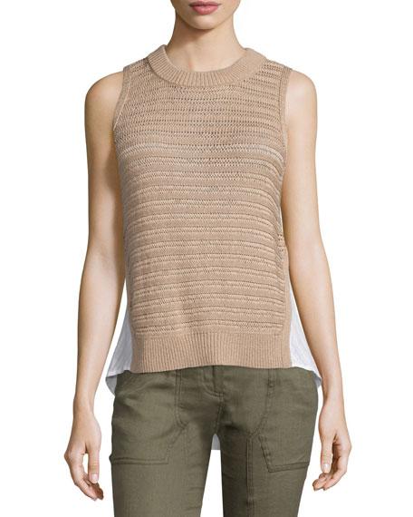 Veronica Beard South Beach Sleeveless Combo Sweater, Nude