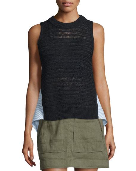Veronica Beard South Beach Sleeveless Combo Sweater, Black