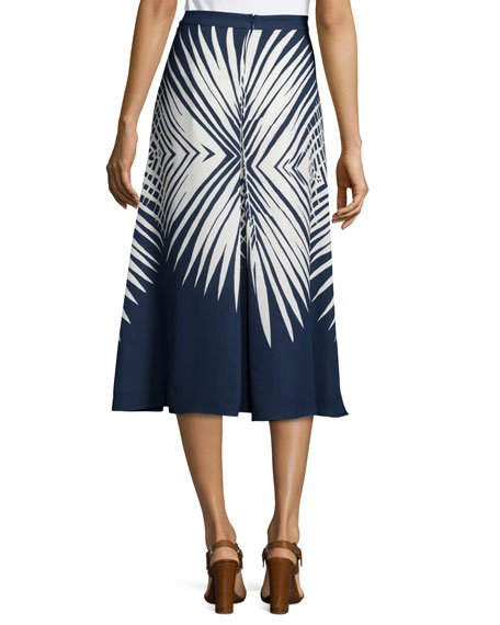 Image 2 of 2: Ivy Pleated Midi Skirt, Navy/White