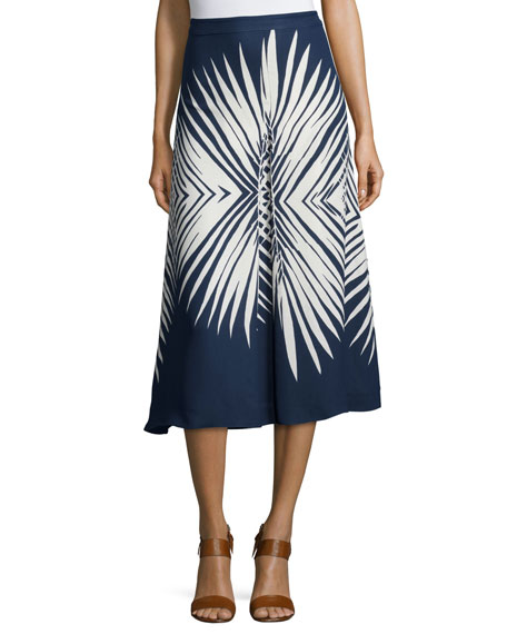Image 1 of 2: Ivy Pleated Midi Skirt, Navy/White