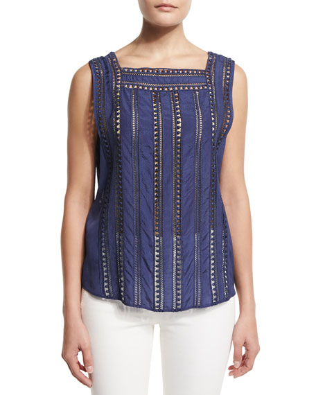 Surfside Sleeveless Silk Top, Blue