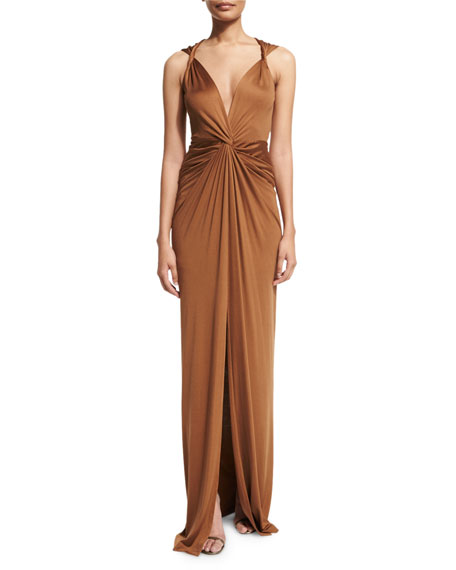 Veronica Beard Dragonfruit Silk V-Neck Maxi Dress, Bronze