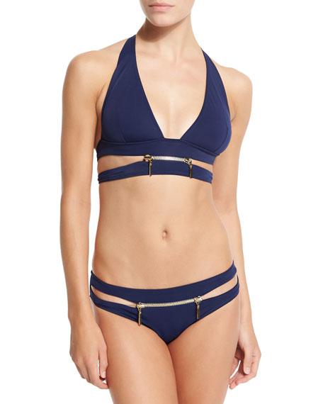 OYE Swimwear X-Type Zipper Two-Piece Bikini, Navy