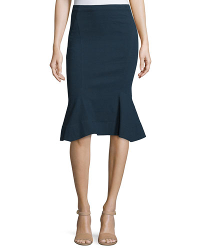 Fit-&-Flare Pull-On Skirt, Deep Indigo