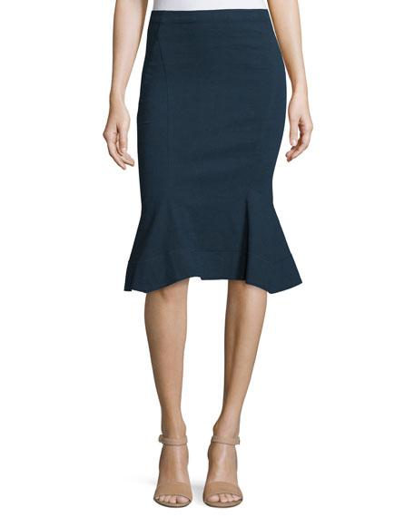 Fit-&-Flare Pull-On Skirt, Deep Indigo
