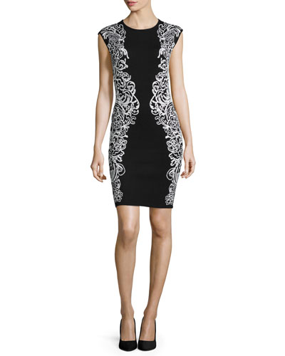 Cap-Sleeve Two-Tone Sheath Dress, Black/White