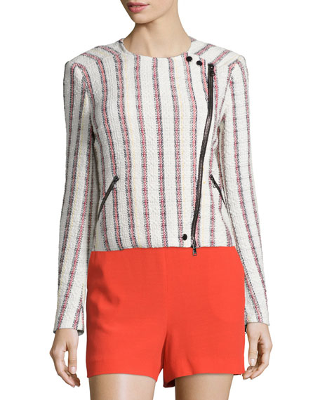 Veronica Beard Mara Striped Tweed Motorcycle Jacket, Multicolor