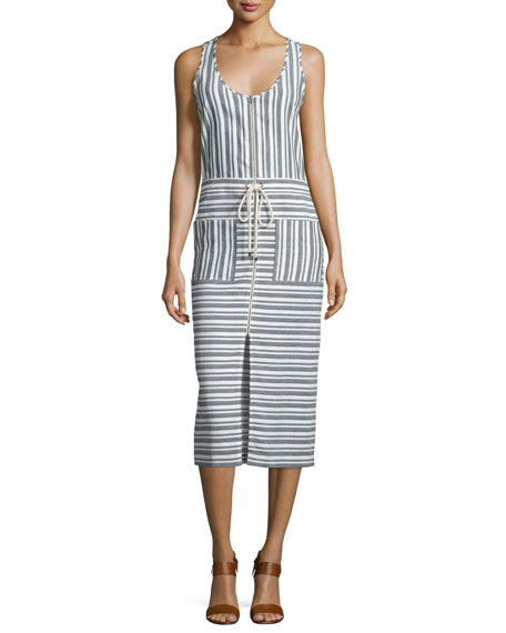 Veronica Beard Harbour Striped Racerback Midi Dress, Black/White