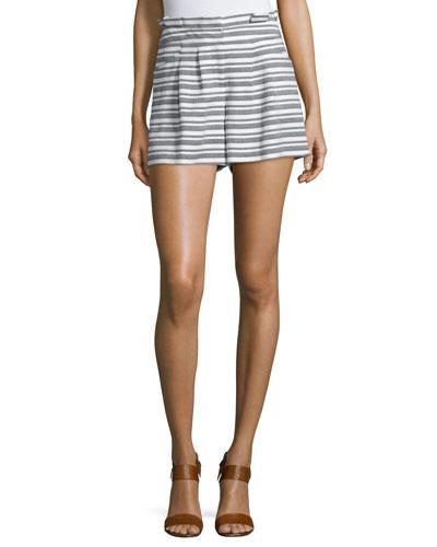 Wynwood Striped High-Waist Shorts, Black/White