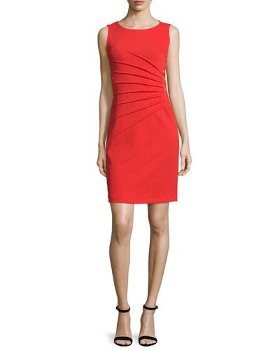 Sleeveless Sunburst-Pleated Sheath Dress