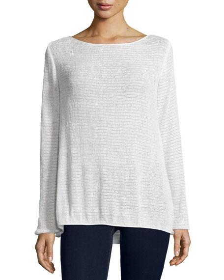 Donna Karan Long-Sleeve Textured Top, Ivory