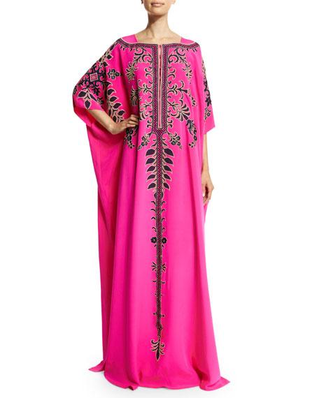 Carolina Herrera Half-Sleeve Embroidered Caftan Gown, Hot Pink