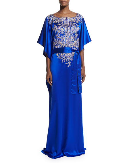 Carolina Herrera 3/4-Sleeve Embroidered Caftan Gown, Royal Blue