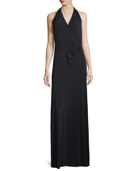 Donna Karan Sleeveless V-Neck Draped Gown, Black
