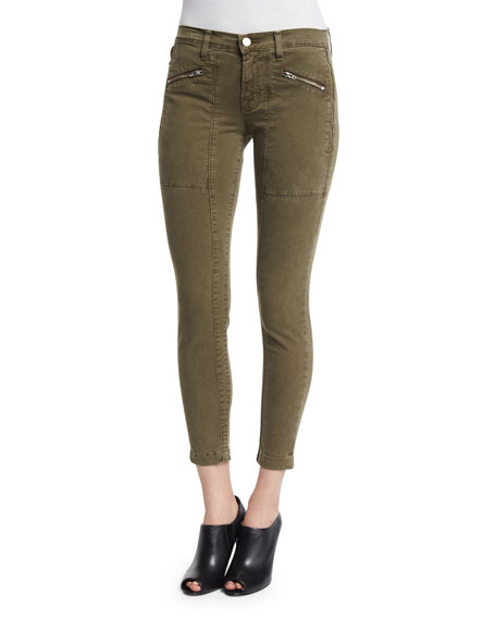 J Brand Jeans Genesis Mid-Rise Utility Cropped Pants,