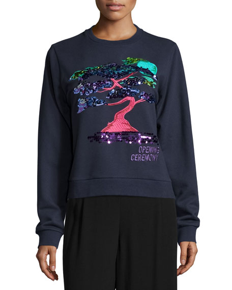 Opening Ceremony Bonsai-Embroidered Cotton Sweatshirt, Midnight Navy