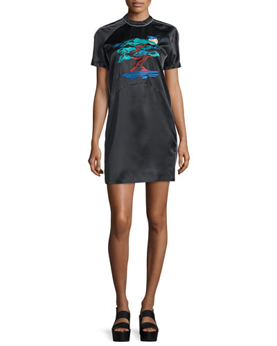 Bonsai-Embroidered Silk Varsity Dress, Black