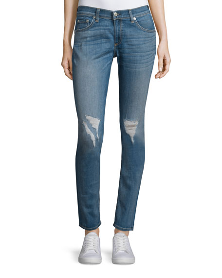 Skinny Distressed Ankle Jeans, Carmine