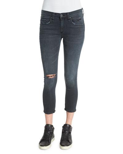 Ultra Distressed Capri Jeans, Steele