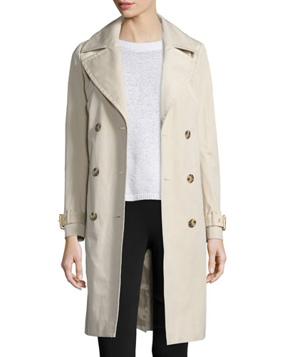 Double-Breasted Long Trench Coat, Khaki