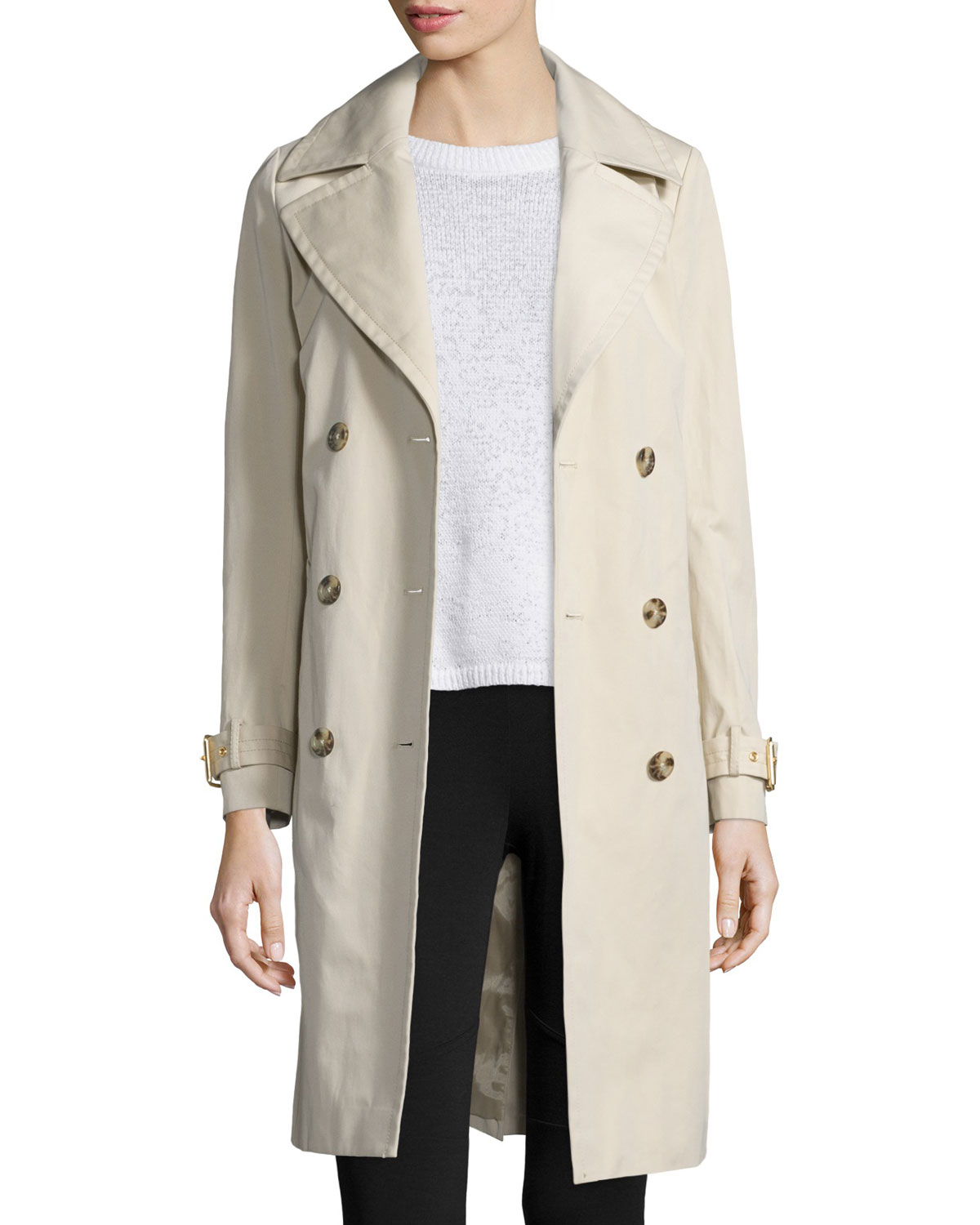 49200524b8 MICHAEL Michael Kors Double-Breasted Long Trench Coat
