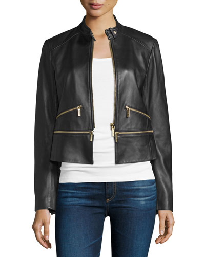 Elevated Multi-Zip Lamb Leather Jacket, Black