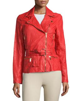 Belted Crinkled Leather Moto Jacket