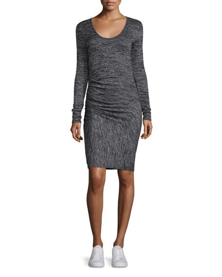 rag & bone/JEAN Twist Long-Sleeve Sheath Dress, Black Heather