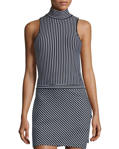 rag & bone/JEAN Mod Mock-Neck Striped Tank, Black/White