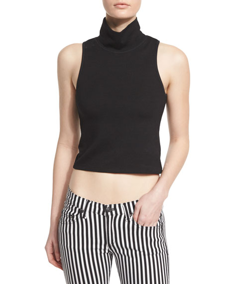 rag & bone/JEAN Mod Turtleneck Cropped Tank, Black