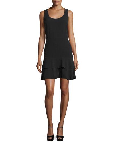 Scoop-Neck Sleeveless Dress with Lace-Yoke
