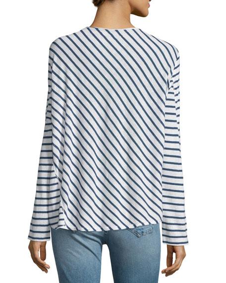 Ash Long-Sleeve Striped Top, Indigo/White