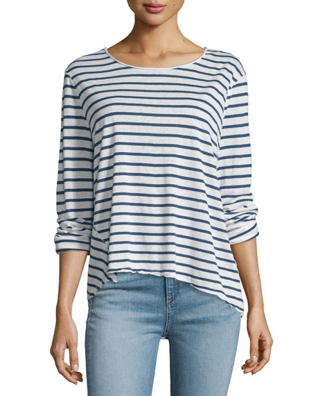rag & bone/JEAN Ash Long-Sleeve Striped Top, Indigo/White
